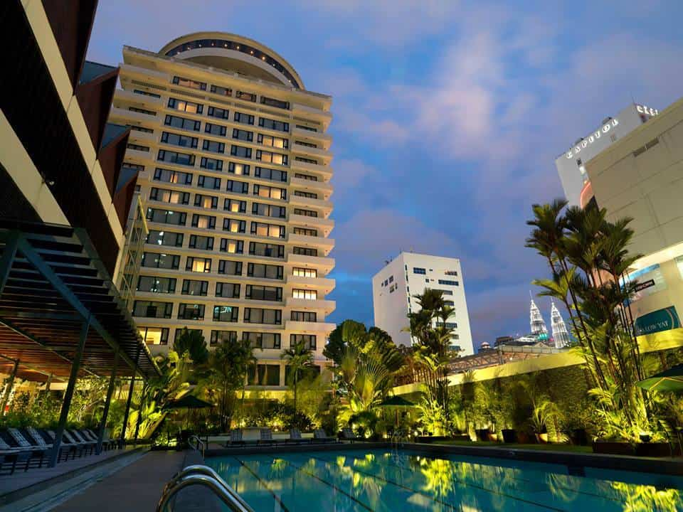 View of The Federal Kuala Lumpur from the poolside, with places like the Petronas Twin Towers, Capitol Hotel Kuala Lumpur and Low Yat Plaza in the vicinity. Source: The Federal Kuala Lumpur FB