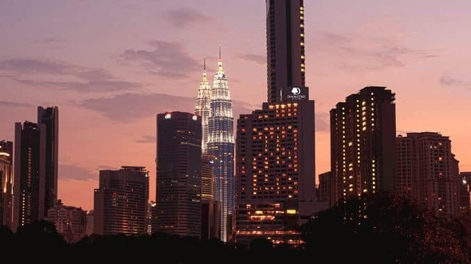 View of DoubleTree at dusk. Source: DoubleTree by Hilton Hotel Kuala Lumpur