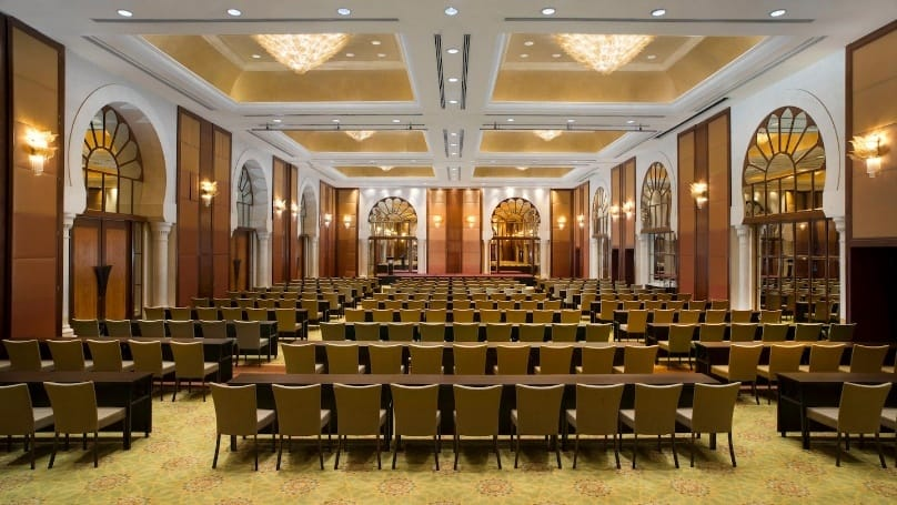 The overall simple design makes Nusantara Ballroom a calming yet charming space for events. Source: Sheraton Imperial Kuala Lumpur Hotel