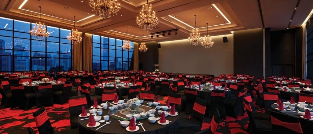 Get merry in this smart red furnishing that decorates the Grand Sky Ballroom at RED. Source: RED by Sirocco