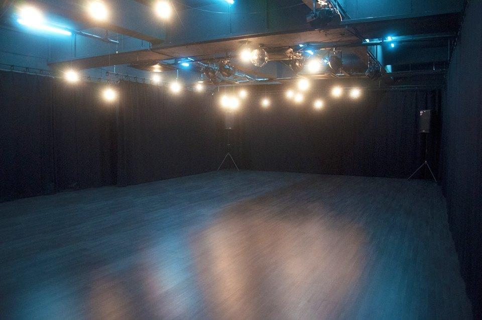 Hardwood floors great for rehearsals of sorts. Also, notice Twenty20Two's signature disco ball? Source: Twenty20Two FB
